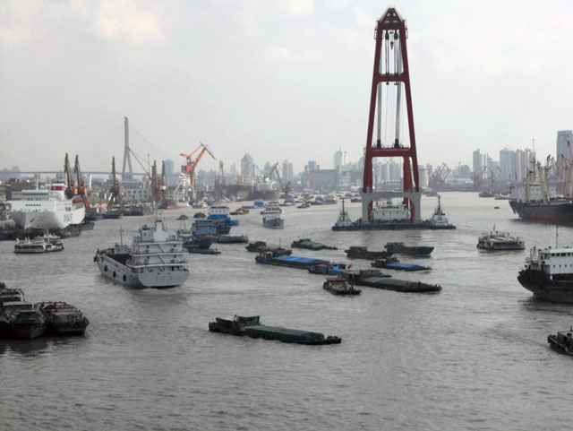Photographs taken in a Chinese port in May 2013